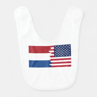 Nederlandse Amerikaanse Vlag Baby Slabbetje