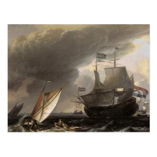 Nederlandse Schepen op een Zee 1690 van het Briefkaart
