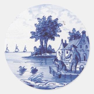 Nederlandse traditionele blauwe tegel ronde stickers