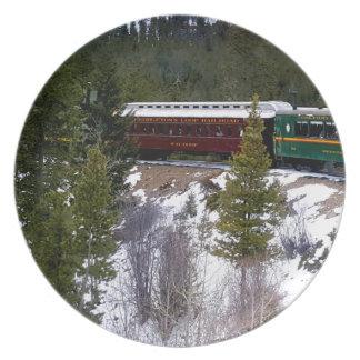 Neem een Rit van de Winter op de Spoorweg van de Bord