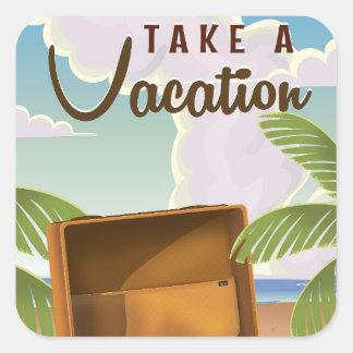 Neem een vintage de reisposter van de Vakantie Vierkante Sticker