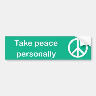 Neem persoonlijk de bumpersticker van de Vrede