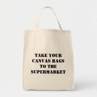 Neem uw canvaszakken aan de supermarkt draagtas