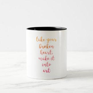 Neem Uw Gebroken Hart, maak het in Kunst, Carrie Tweekleurige Koffiemok