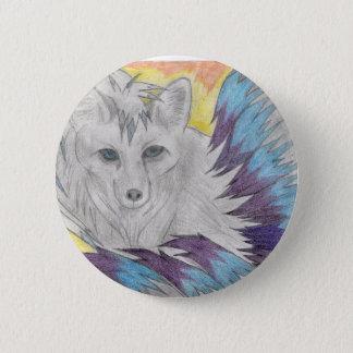 Negen van de steel verwijderde vos - de tekening ronde button 5,7 cm
