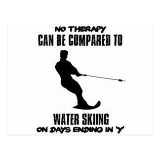 Neigend het ski?en van het Water design Briefkaart