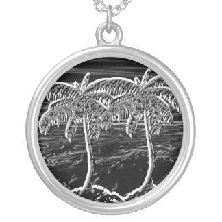 neon zwarte ronde palmen zilver vergulden ketting
