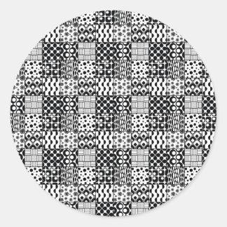 Net van Zwart-witte Geometrische Patronen, 01 Ronde Sticker