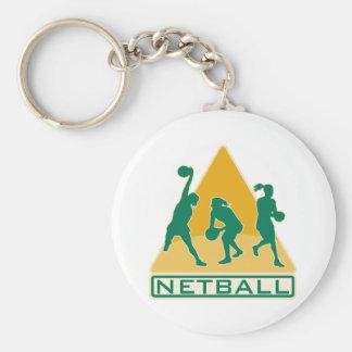 netball speler vangen die bal overgaan sleutelhanger