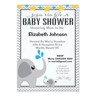 Neutral Mom & Baby Elephant Baby Shower Invitation 12,7x17,8 Uitnodiging Kaart