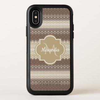 Neutrale Bruin en Tan breit Patroon met Naam OtterBox Symmetry iPhone X Hoesje