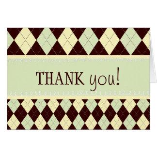 Neutrale Groene Gele Argyle dankt u nota neemt van Briefkaarten 0