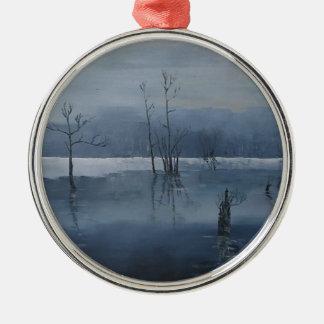 Nevelig water zilverkleurig rond ornament