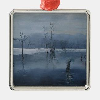 Nevelig water zilverkleurig vierkant ornament