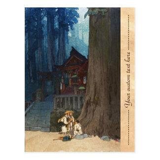 Nevelige dag in de houtsnedeart. van Nikko Hiroshi Briefkaart