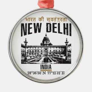 New Delhi Zilverkleurig Rond Ornament