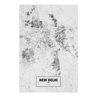 New Delhi, zwart India (op wit) Poster