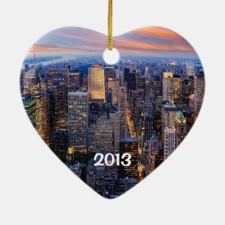 New York bij Nacht Keramisch Hart Ornament