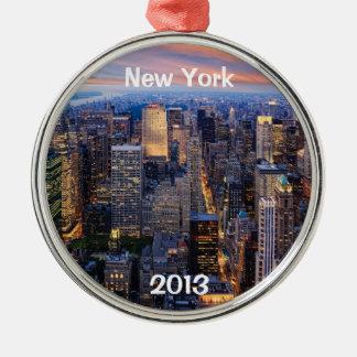 New York bij Nacht Zilverkleurig Rond Ornament