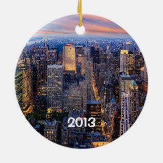 New York bij Nacht Rond Keramisch Ornament