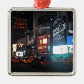 New York Broadway at night Zilverkleurig Vierkant Ornament