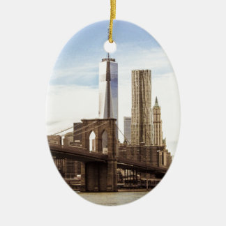 New York Brooklyn brug Keramisch Ovaal Ornament