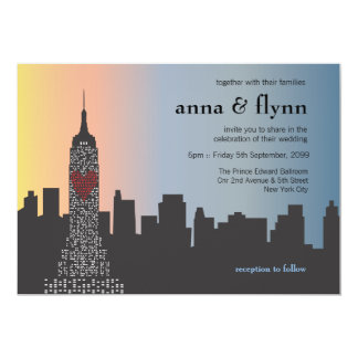 "New York City Skyline Cityscape Wedding Invitation 5"" X 7"" Invitation Card"
