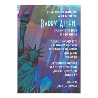 New York Dame Liberty Bar Bat Mitzvah Uitnodiging