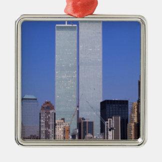 New York, de V.S. Tweeling torens van de beroemde Zilverkleurig Vierkant Ornament