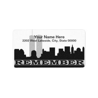 New York herinnert het Etiket van Adres 911