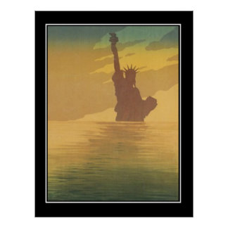 New York in het mist Vintage Poster