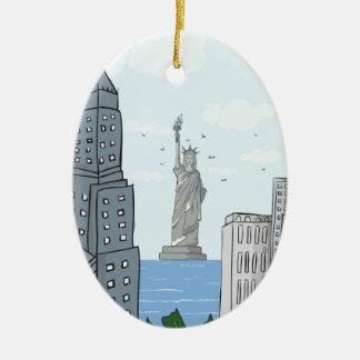 New York Keramisch Ovaal Ornament