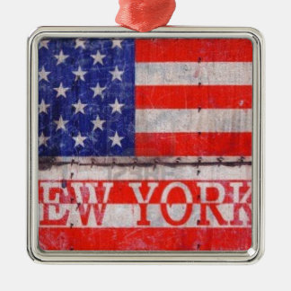 New York, New York Zilverkleurig Vierkant Ornament