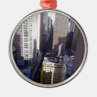 New York, New York Zilverkleurig Rond Ornament