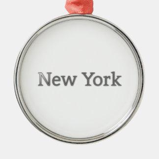 New York Zilverkleurig Rond Ornament