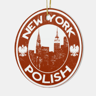 New York Poolse Amerikaan Rond Keramisch Ornament