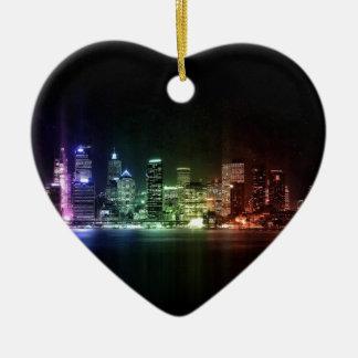 New York Rainbow collection Keramisch Hart Ornament