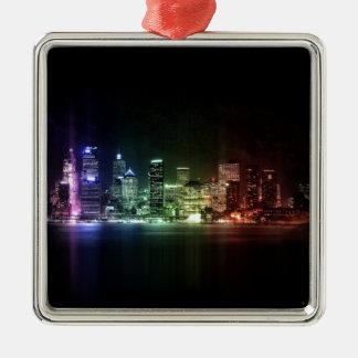 New York Rainbow collection Zilverkleurig Vierkant Ornament