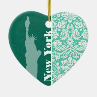 New York, Standbeeld van Vrijheid, Groen Damast Keramisch Hart Ornament