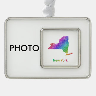 New York Verzilverd Omlijst Ornament