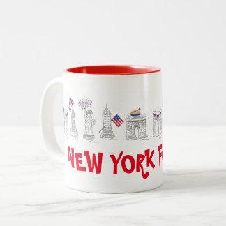New York Vierde NYC vierde van de Patriottische de Tweekleurige Koffiemok