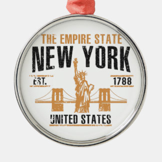 New York Zilverkleurig Rond Ornament