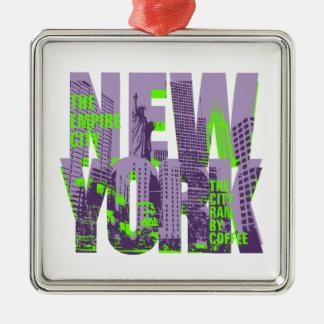 NEW YORK ZILVERKLEURIG VIERKANT ORNAMENT