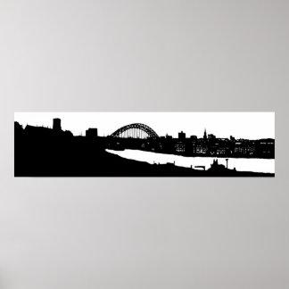 Newcastle op Poster van het Silhouet van de Tyne h