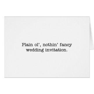 niets fancy huwelijk nodigt uit notitiekaart