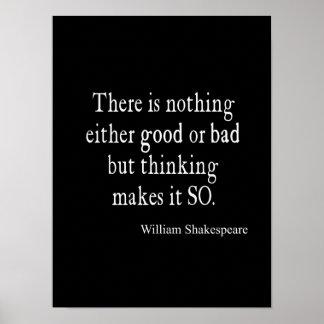Niets Goed of Slecht het Denken Shakespeare Citaat Poster