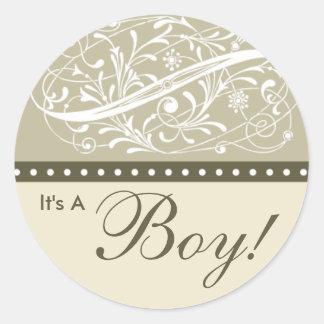 Nieuw Baby   Aankondiging   Baby shower Taupe van Ronde Sticker