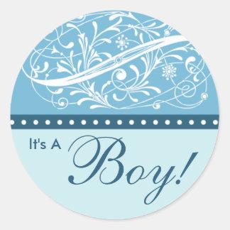 Nieuw Baby   Aankondiging van de Geboorte   Blauw Ronde Sticker