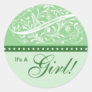 Nieuw Baby Aankondiging van de Geboorte Munt v Sticker