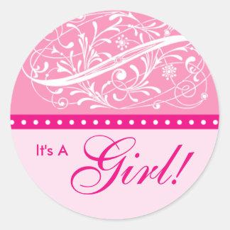 Nieuw Baby   Aankondiging van de Geboorte   Roze Ronde Sticker